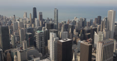 Ultra HD 4K Busy City Crowded Center Above Aerial view Downtown Chicago Skyline Stock Footage