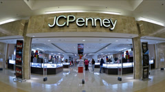 JCPenney storefront mall zoom-in - stock footage
