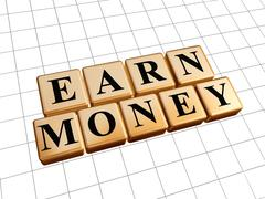 Earn money in golden cubes Stock Illustration