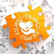 Charity Concept Orange Puzzle. Piirros