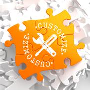 Customize Concept on Orange Puzzle. - stock illustration