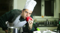 Chef looking fruit Stock Footage