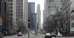 Ultra HD 4K Emergency Car Lights Sign Flash Chicago Traffic Jam Michigan Avenue Stock Footage