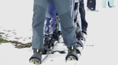 Group of kids walking in same skis - stock footage