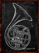 French horn drawing on blackboard - stock illustration