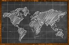 World map chalk drawing blackboard wallpaper Stock Illustration