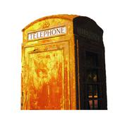 vintage obsolete outdoor telephone booth isolated southwest rural country nig - stock photo