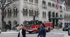 Ultra HD 4K Fire Engine Truck Fire Fighter Siren Passing Michigan Avenue Chicago Stock Footage