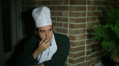 Chef smoking break smoke Stock Footage