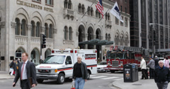 Ultra HD 4K Chicago Fire Department Superior Ambulance Service Passing USA Stock Footage