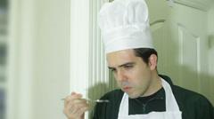 chef tasting taste food - stock footage