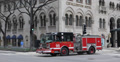 Ultra HD 4K Busy City Chicago Fire Truck Engine Passing Magnificent Mile Day Footage