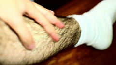 hairy legs excessively hair - stock footage