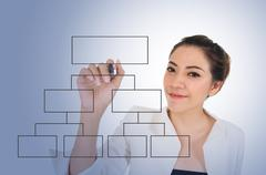 Business woman with blank diagram - stock photo