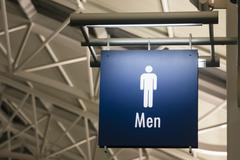 men's restroom male lavatory sign marker public building architecture structu - stock photo