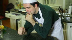 Sad chef quitting quit Stock Footage