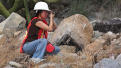 Geologist Woman Loupe Stock Footage