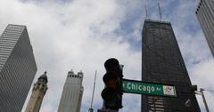 Ultra HD 4K John Hancock Center Chicago Avenue CloseUp Street Road Sign Downtown Stock Footage