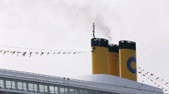 Ship chimney with visible steam - stock footage