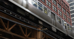 Ultra HD 4K System Track United States Elevated L Subway Train Passing Chicago Stock Footage