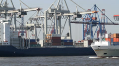Hamburg container harbour - stock footage