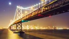 Bay Bridge night San Francisco Stock Footage