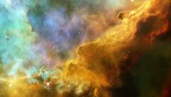 nebula flight through the cosmic clouds and sky - stock footage