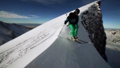 Mountain Skiing. Stock Video HD Stock Footage