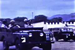 Aden UK British Army Convoy sunrise vintage film SD D002 Stock Footage