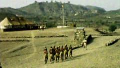 Aden UK military outpost Levy soldiers march work HD D002 - stock footage