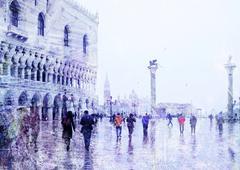 Vintage näkymä Venetsia Piirros