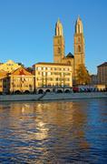 The Grossmunster in Zurich Stock Photos