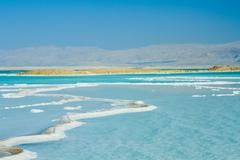 beautiful coast of the dead sea - stock photo
