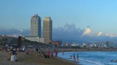 Spain Catalonia Barcelona Mapfe Tower n Hotel Arts n FISH sculpture Stock Footage
