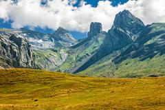 French pyrenees range of peaks Stock Photos