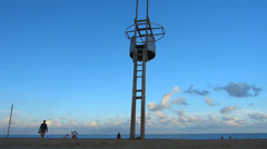 Spain Catalonia Barcelona beach life guard tower Stock Footage