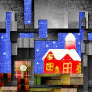 Christmas background santa cottage Stock Illustration
