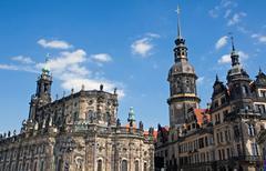 Hofkirche and Residenzschloss in Dresden - stock photo
