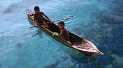 Footage Sea Gypsy Kids on Sampan Stock Footage