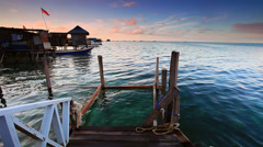 Sunrise footage of water village in Borneo, Mabul Stock Footage