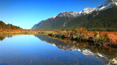 Mirror Lakes, South Island, New Zealand Stock Footage