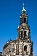 The upper part of the Hofkirche - stock photo