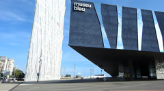 Spain Catalonia Barcelona Diagonal Forum area Telefonica n Blue Museum Stock Footage