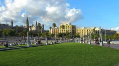 Spain Catalonia Barcelona harbor harbour port greenery meadow grassland park Stock Footage