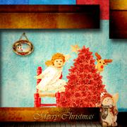 cute angel with christmas star indoors - stock illustration