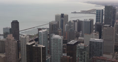 Ultra HD 4K Great Lakes Modern Skyscrapers Highrise Panorama Chicago Aerial View Stock Footage