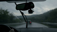 Stock Video Footage of Shot through windscreen while driving on motorway on rainy evening