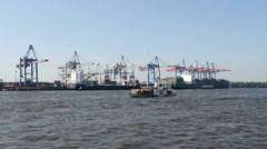 Hamburg container harbour Stock Footage