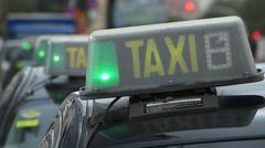 Spain Catalonia Barcelona Diagonal Forum area taxi stand Stock Footage