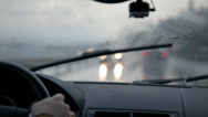 Stock Video Footage of Windscreen wipers cleaning windshield glass on rainy dawn